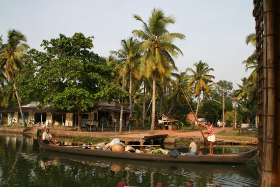 A village in the Kerala Backwaters, India