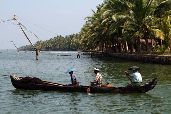 <em>A canoe in the Kerala backwaters</em>