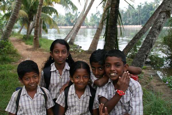 Kids in Kerala Backwaters